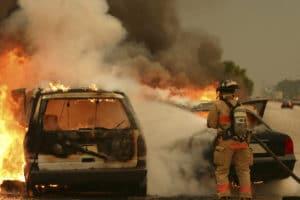 Firefighter extinguishing