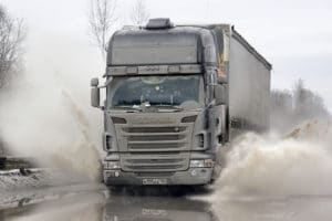 Black semi-trailer truck