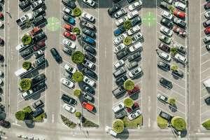 daytime in busy parking lot