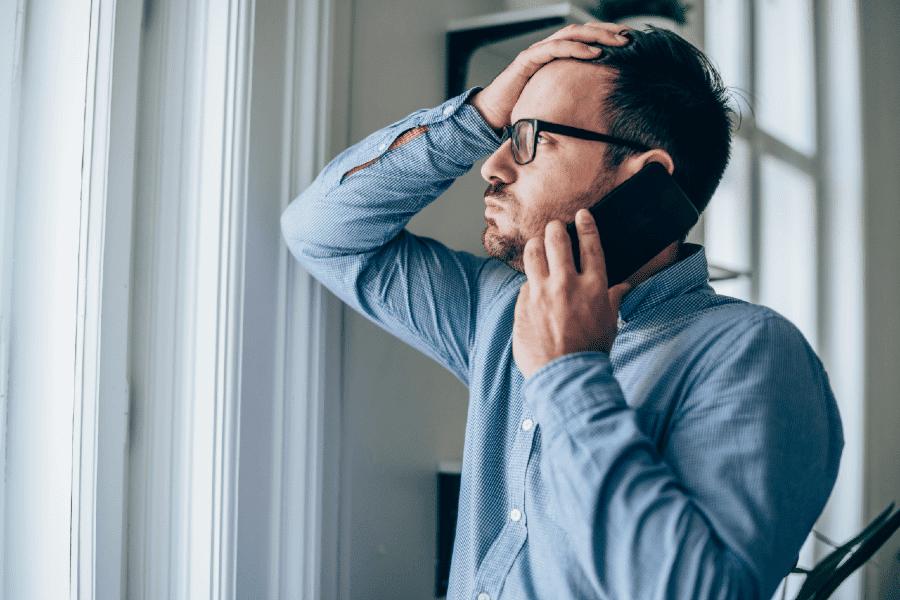 man listening to phone call